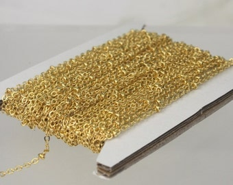 32 ft Gold Plated Satellite Chain Flat BALL Chain - 2.4x1.7mm SOLDERED link - Tiny Small Ball Flat Cable Chain - Bulk Wholesale