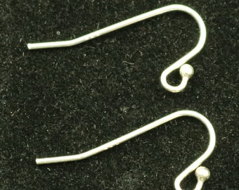 10 Sterling SILVER Ear Wires Earrings hooks Earwires with Ball - 10x22mm 21Gauge 0.7mm Wire - 5 Pair Fish hook ear wire - ss744