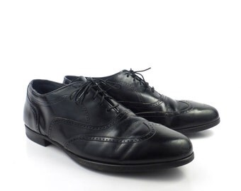 Black Oxford Shoes Leather Vintage 1980s Stafford Men's size 9 1/2 D