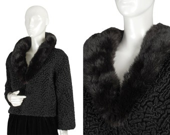 60s vintage cropped black mink collar bolero jacket, faux Persian lamb fur, plunging V neck, bracelet sleeves, 10% to charity, size S - M