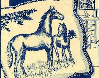 Vintage Embroidery Transfer repo 6874 Horse Mare Foal for Picture Pillow 16x18