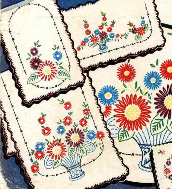 Vintage hand embroidery transfer repo two lazy daisy