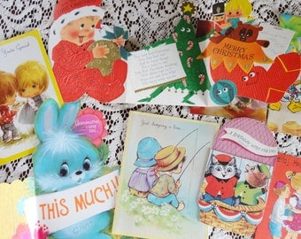 Holiday Wishes in Juvenile Styles for Valentines Christmas Birthday in Vintage All Occasion Lot No 107 Total of 10