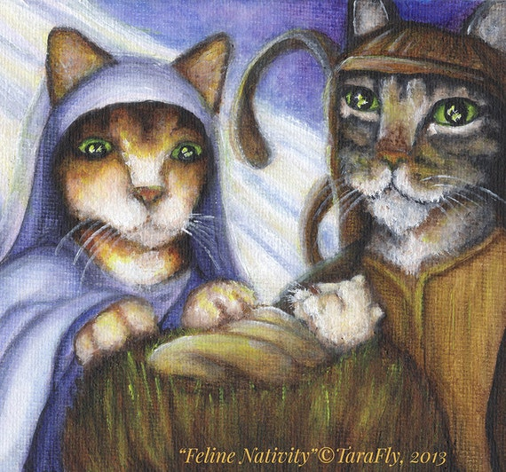 Christmas Nativity Cats, Mary Joseph and Baby Jesus in Manger 8x10 Art Print