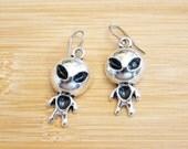 Alien People Outer Space Hand Painted Earrings Tibetan Silver
