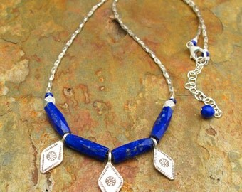 Lapis Thai Hill Tribe Silver Necklace - Blues