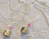 Rose Pink and Silver Drop Earrings Swarovski Crystal