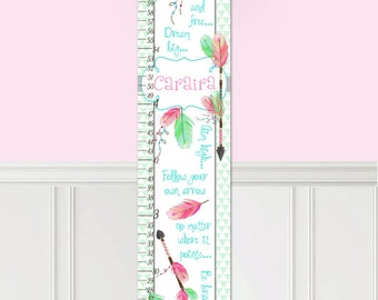 Canvas GROWTH CHART Follow Your Own Arrow Girls Arrows and Feathers Pink Mint Turquoise Bedroom Baby Nursery Bedroom Wall Art GC0189