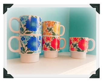 Set of 5 Vintage Floral Stacking Mugs Cups Like Lily Pulitzer Style Japan Retro Mod