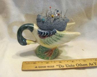 Mallard Duck pincushion made from Occupied Japan miniature planter