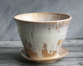 Large Rustic Flower Pot and Matching Water Dish in White and Ocher Dripping Glaze Planter Ceramic Handmade Stoneware Pottery Made in USA