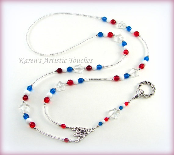 LANYARD ID Badge Holder Patriotic Red White Blue Star Glass Beaded