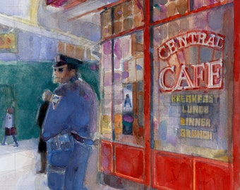 New York's Finest - Pershing Square - Midtown - Vertical - Prints from Original Watercolors