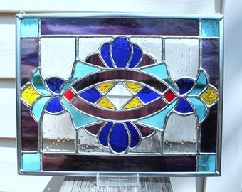 Stained Glass Panel in Cobalt Blue, Purple, Sky Blue, Yellow and Red
