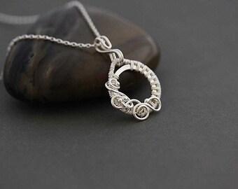 Sterling Silver Necklace. Felice sterling silver pendant, wire wrapped sterling silver pendant, gift for her