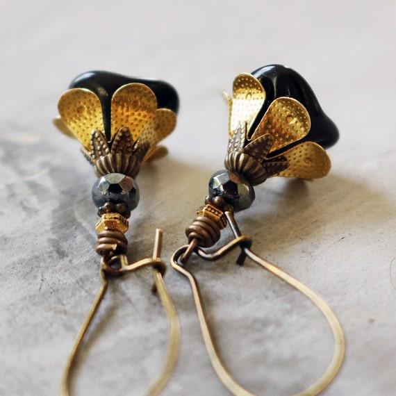 Jet Black Glass Flower Earrings with Antiqued Brass