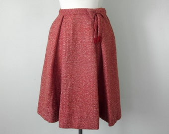 50s red tweed wool pleated fitted waist skirt 28 (s - m)