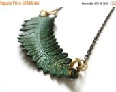 Memorial Day Sale Fern Necklace, Verdigris, Green, Nature, Woodland Jewelry, Gardener, Naturalist