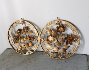 vintage metal 3 Dimensional Floral Wall Hangings