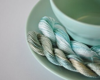 Serenity - SET of 2 Skeins of Hand Dyed Perle Cotton Thread Size 5 & 8 - Wool Embroidery - Sashiko Thread - Hand Quilting - Pearl Cotton