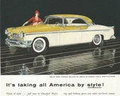 Vintage 1950s 1955 original magazine ad advertisement - Chrysler New Yorker Deluxe St. Regis