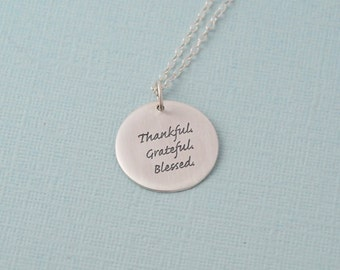 Thankful / Grateful / Blessed Necklace Give thanks necklace / blessed necklace