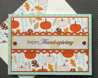 Thanksgiving Card with Matching Embellished Envelope - Harvest Patch