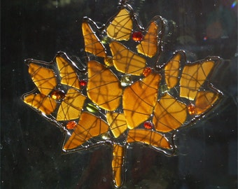 Sea Glass Maple Leaf Suncatcher in Autumn Colors,  Autumn Decor