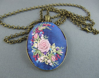 Rose necklace, Medium Oval pendant, Embroidered jewelry, Flower necklace, Hand Embroidery
