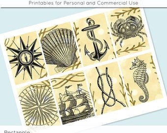 """Nautical Ocean Sea Digital Collage Sheet 2.5"""" x 3.5"""" Rectangle Images ATC ACEO Magnets Card Jewelry Holder Hang Tag Journaling Scrapbooking"""