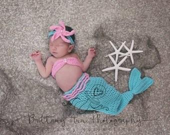 Newborn Mermaid Baby Costume, 0 to 3 month Turquoise and Pink Mermaid Photo Prop