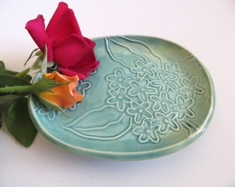 Trinket or Ring Dish, Wedding ring holder, Jewelry Tray, Floral Embossed,  Engagement Gift, Nana Gift, Oval dish, IN STOCK