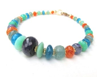 Natural Gemstone Bracelet ~ Sapphire Chrysoprase Tanzanite Spessartite Apatite beads - Handmade Jewelry