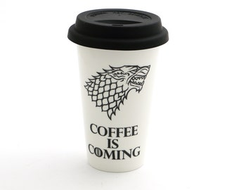 Game of Thrones travel mug, Direwolf , porcelain double walled eco cup with grey flexible lid, coffee is coming, gift for him