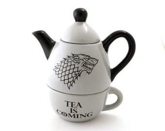 Game of Thrones, direwolf teapot, House of Stark, tea for one, Tea is coming, gift for tea lover, tea drinker, gift for him