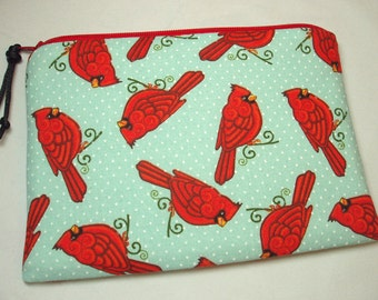 Padded Cosmetic Zipper Pouch Coin Purse in Cardinal Scroll Print