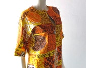 Vintage Mod Tiki Caftan - Batik Print Cotton Cabana Glam 1960s Palm Springs Modern - Megan Draper Resort Cool - Size Med - Country Club Glam