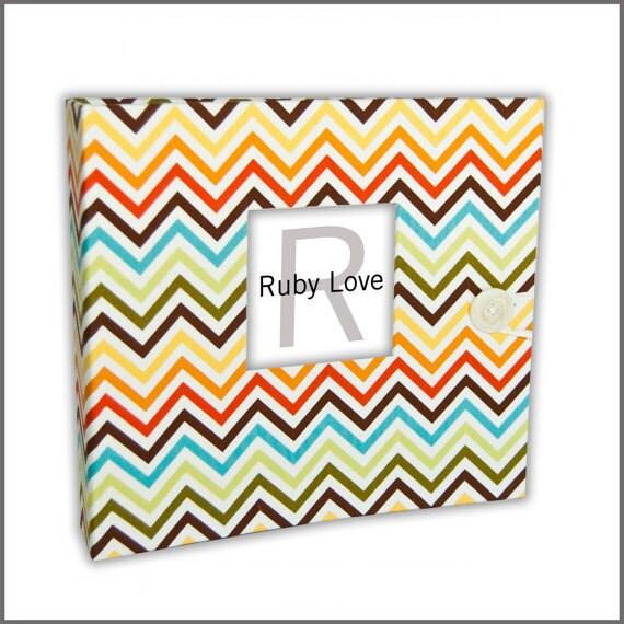 BABY BOOK | Mini Bermuda Chevron Album | Ruby Love Modern Baby Memory Book