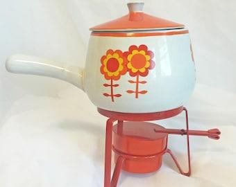 Vintage Flower Power Fondue Pot and Burner