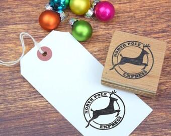 Flying Reindeer Postmark Style Stamp