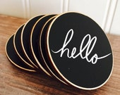 On SALE- 50 Circle {BLANK} Chalkboard Name Tags with Magnets, Wedding Chalkboard Place Cards, Name Tags for Meetings and Corporate Events