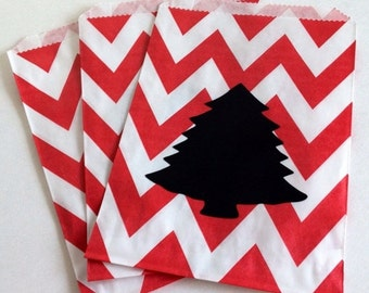 SALE- 12 Red Chevron Treat Bags with 12 Chalkboard Labels-Kids Christmas Favors, Christmas Tree Chalk Labels