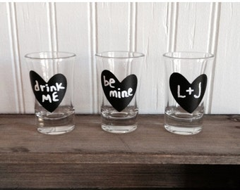 On SALE- 24 Mini Heart Chalkboard Stickers - Chalkboard Heart Shot Glass Stickers, DIY Valentines, DIY Wedding Favor Jars