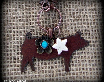 """Rustic Metal Show Hog, Pig on Boho Style Leather & Pearl Chain Necklace 28"""""""