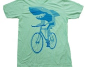 Mens T-shirt Shark on a Bicycle American Apparel Lime Green