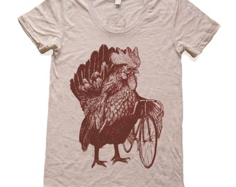 Chicken Bicycle- Womens T Shirt, Ladies Tee, Tri Blend Tee, Handmade graphic tee, sizes s-xL