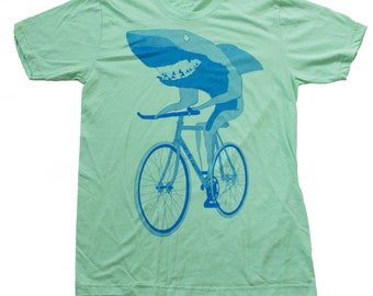 Shark on a Bicycle - Mens T Shirt, Unisex Tee, Cotton Tee, Handmade graphic tee, Bicycle shirt, Bike Tee, sizes xs-xxl