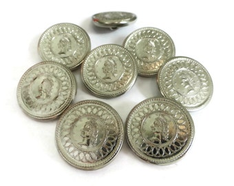 Silver Metal Vintage Buttons with Womens Head