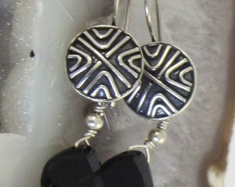 Abstract Geometric Design Antiqued Sterling Earrings with Faceted Black Onyx Teardrops