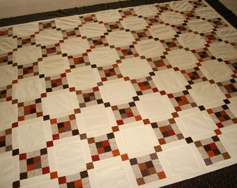Quilt Top Clearance sale Fall Inspired  Modern Vintage style queen size Quilt Top